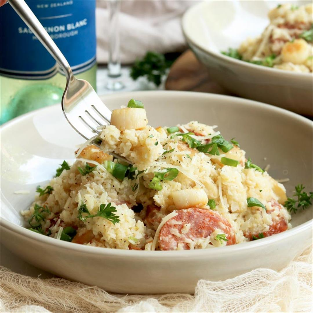 Creamy Cauliflower Risotto with White Wine, Scallops & Sausage