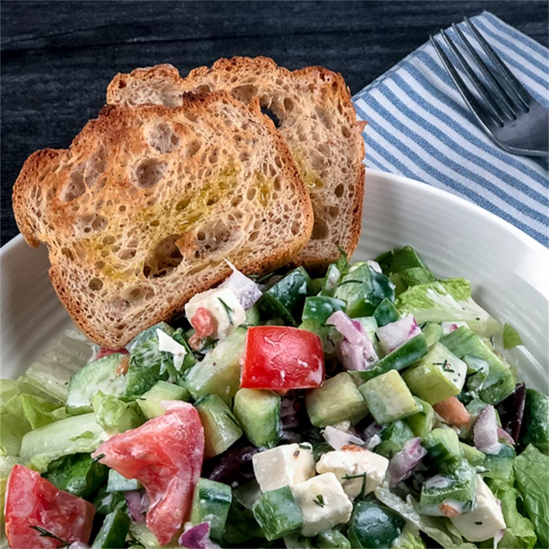 Classic, Creamy Chopped Greek Salad