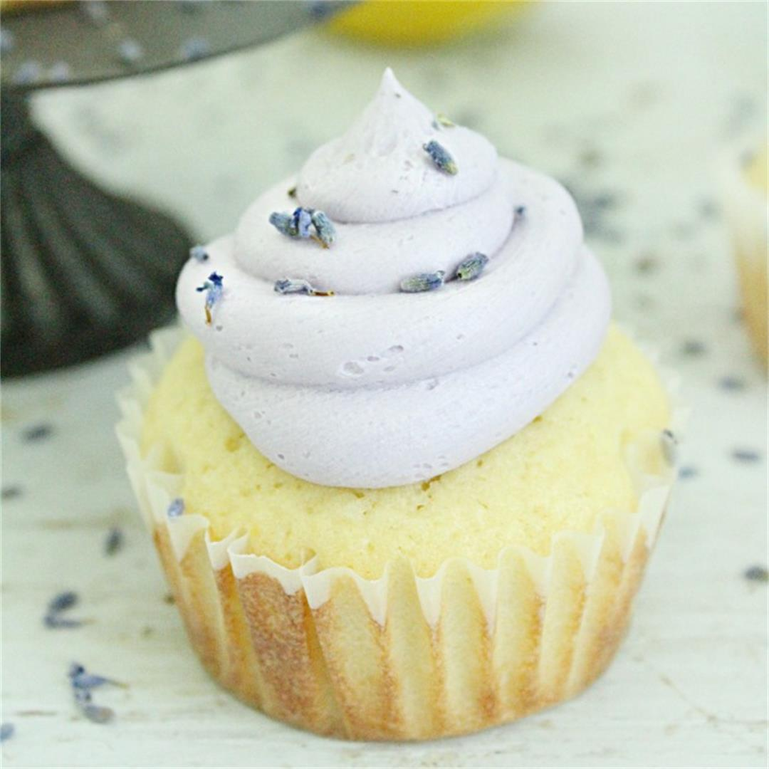 Lemon Cupcakes with Lavender Buttercream Frosting