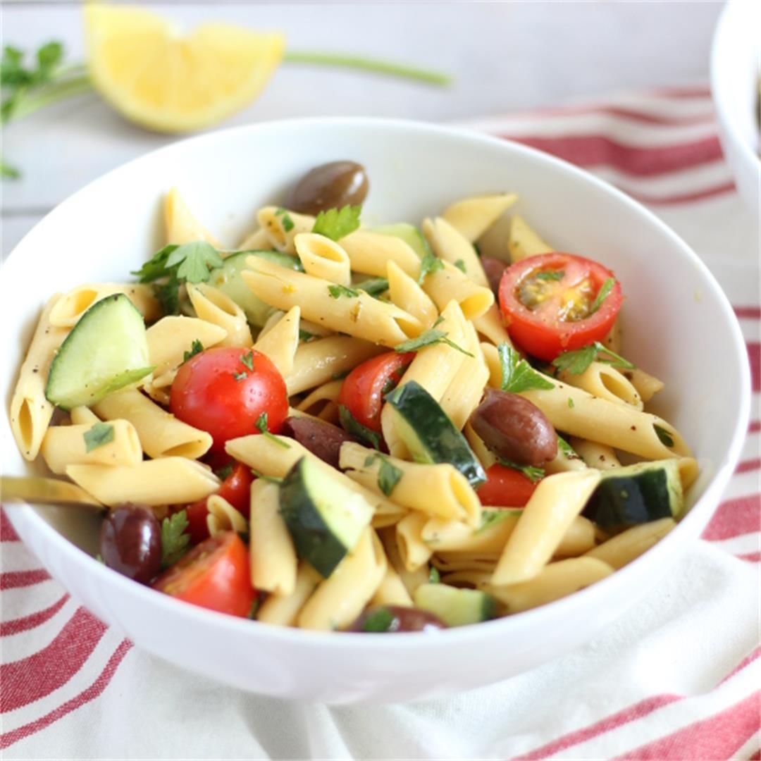 Mediterranean Pasta Salad (Gluten free & Vegan)
