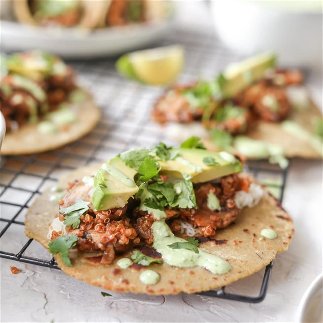Chipotle Mushroom Tacos with Cilantro Yogurt Sauce