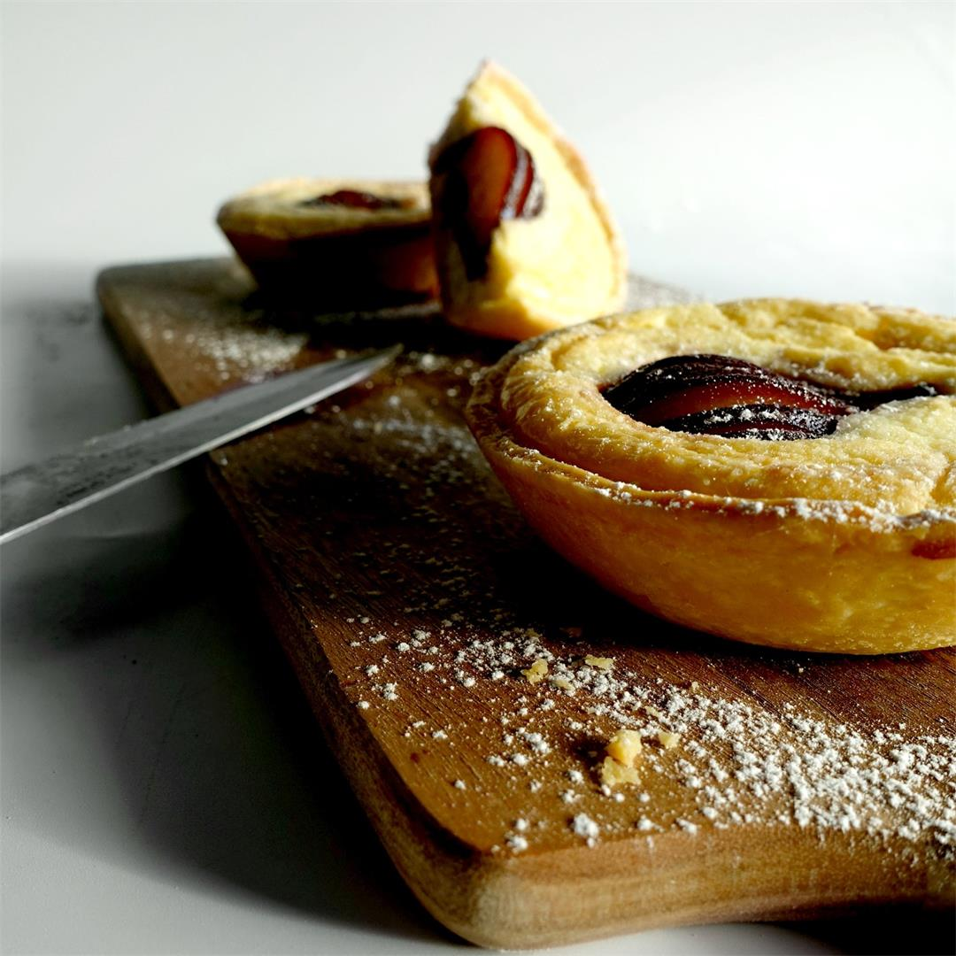 Red Wine Poached Pear Cheese Tarts