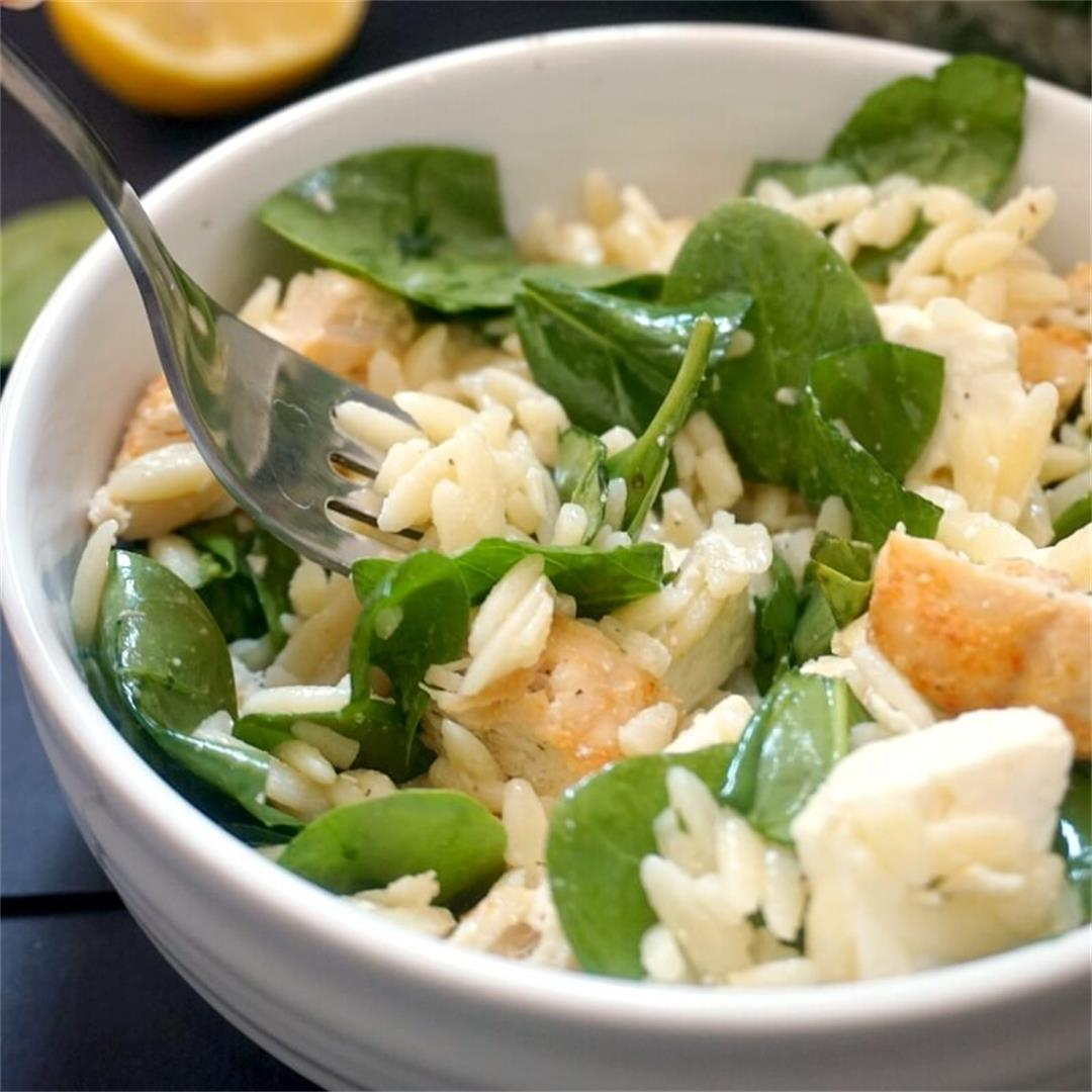 Chicken Spinach Orzo Salad with Dijon Mustard Dressing