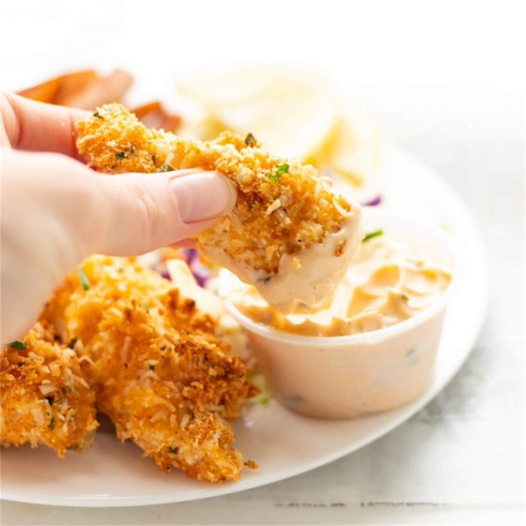 Almond Coconut Crusted Fish Sticks