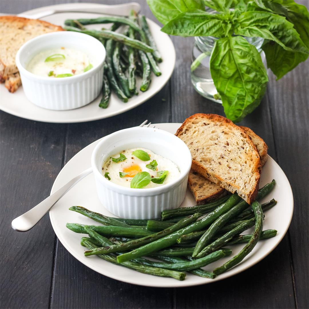 Baked Eggs and Green Beans
