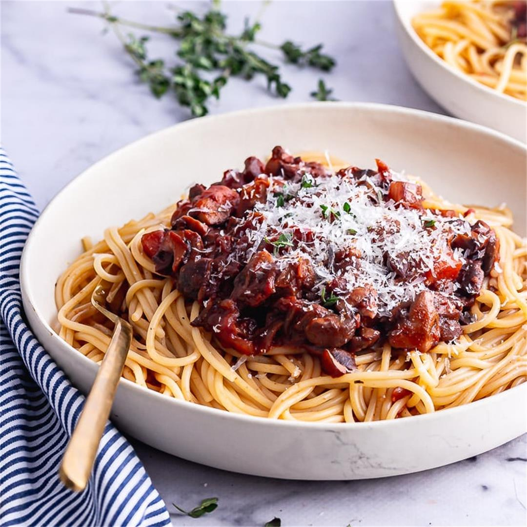 Vegetarian Spaghetti Bolognese with Mushrooms • The Cook Report