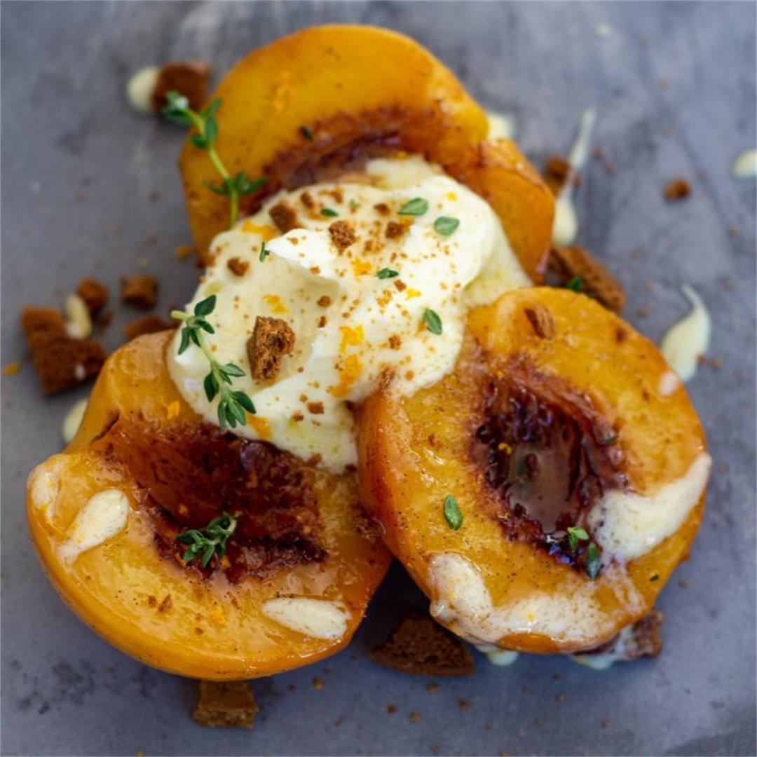 Roasted peaches, ginger & mascarpone