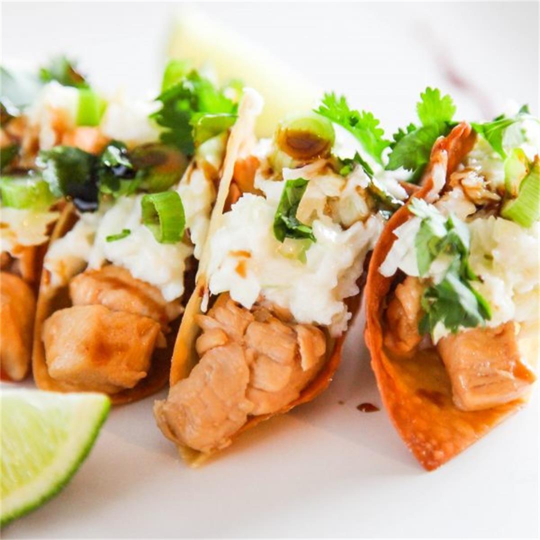 Crispy Chicken Wonton Tacos
