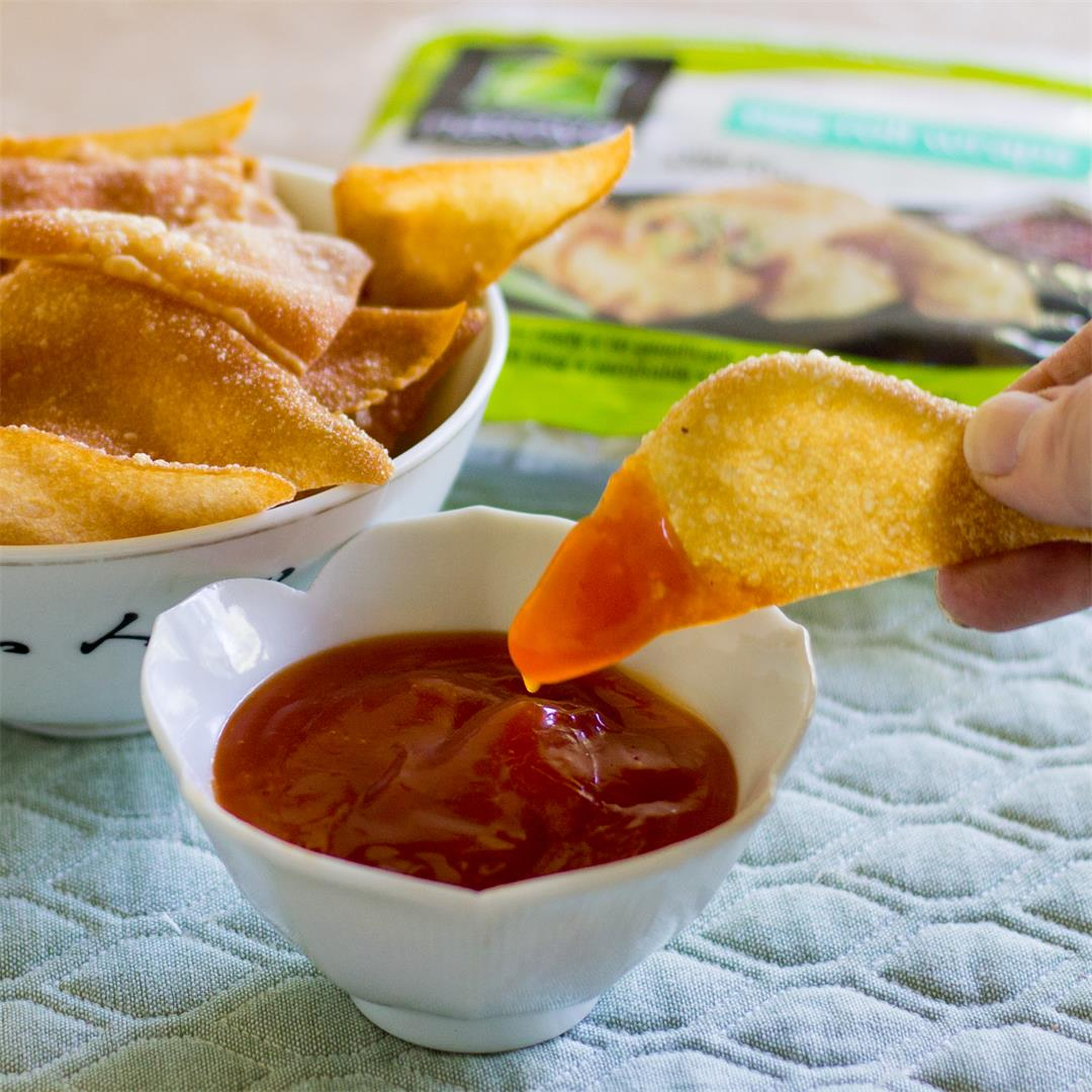 Fried Egg Roll Chips with Sweet and Sour Sauce