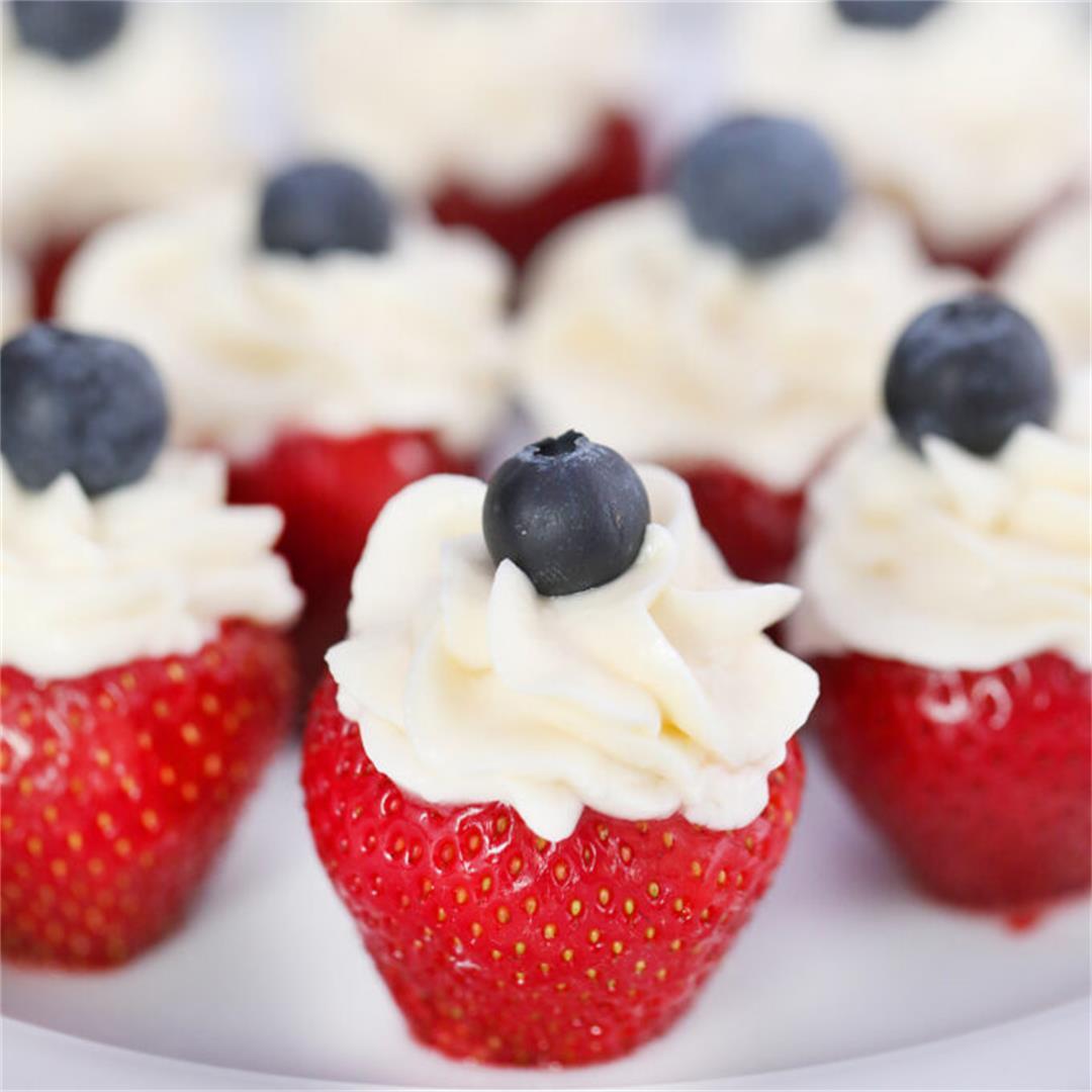 Patriotic Stuffed Strawberries