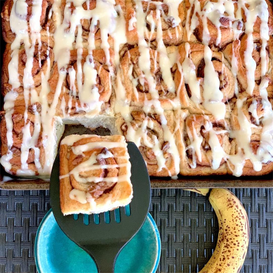 Vegan Banana Bread Cinnamon Rolls With Cream Cheese Icing