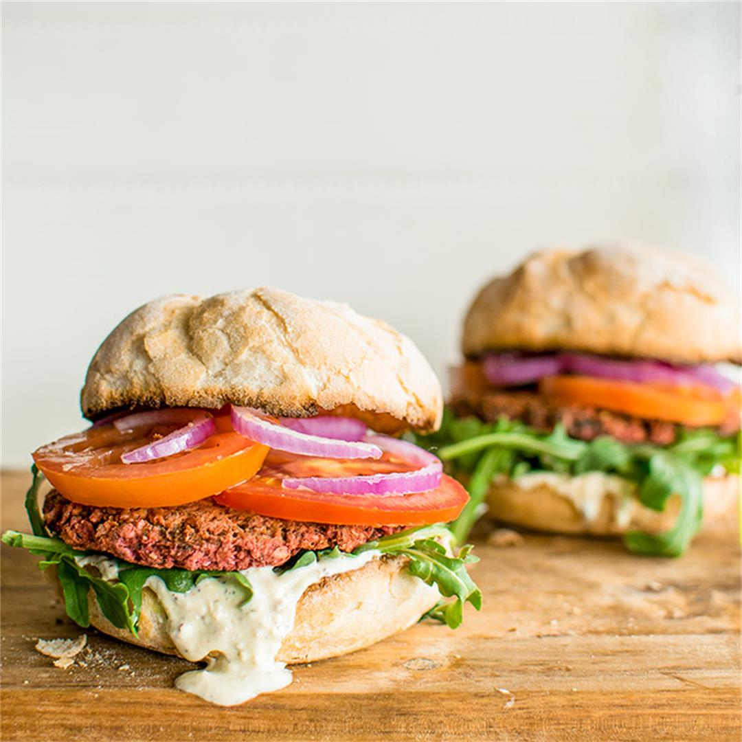 Vegetarian Chickpea and Beetroot Burgers with Whipped Feta