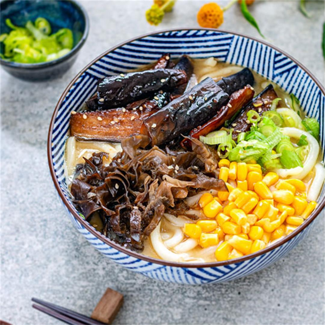 Miso udon noodles with teriyaki aubergine