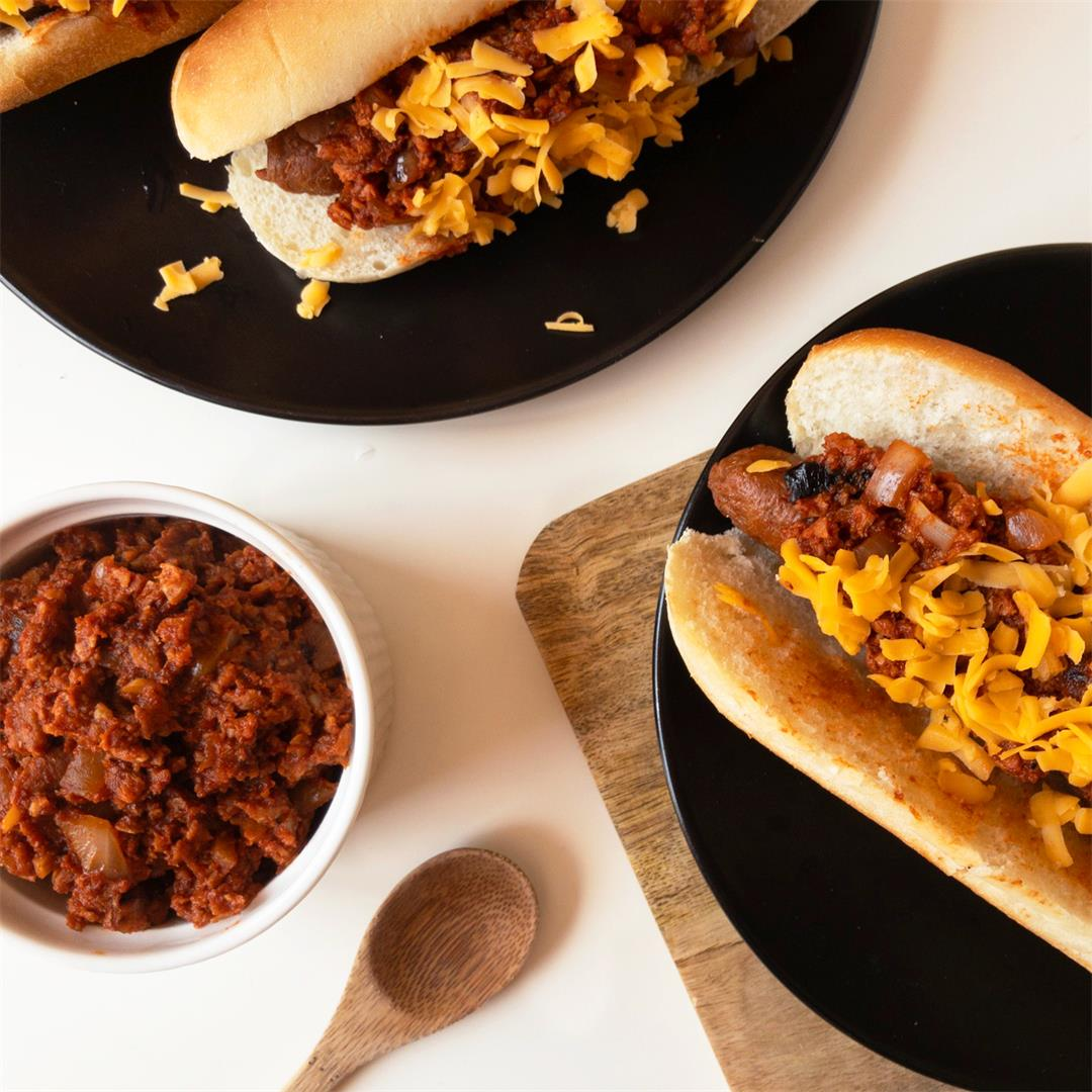 Vegan Chili Cheese Dogs (Seitan)