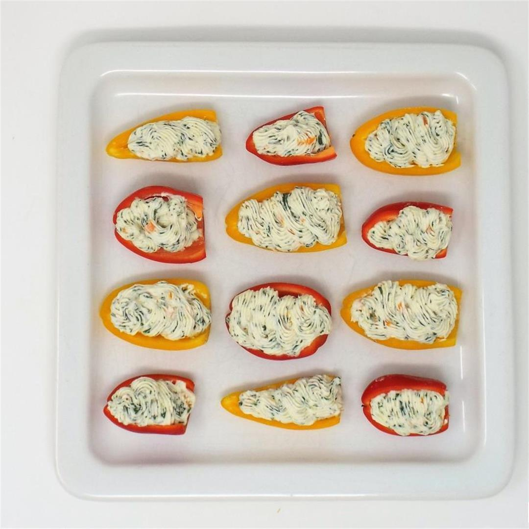 Garlic and Herb Cream Cheese Stuffed Mini Peppers