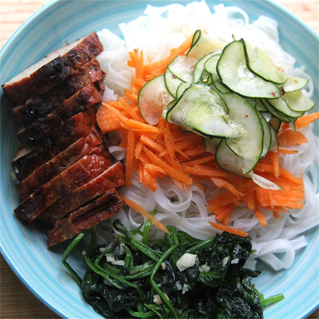 Grilled Pork Rice Noodle Bowls with Garlicky Spinach and Spicy