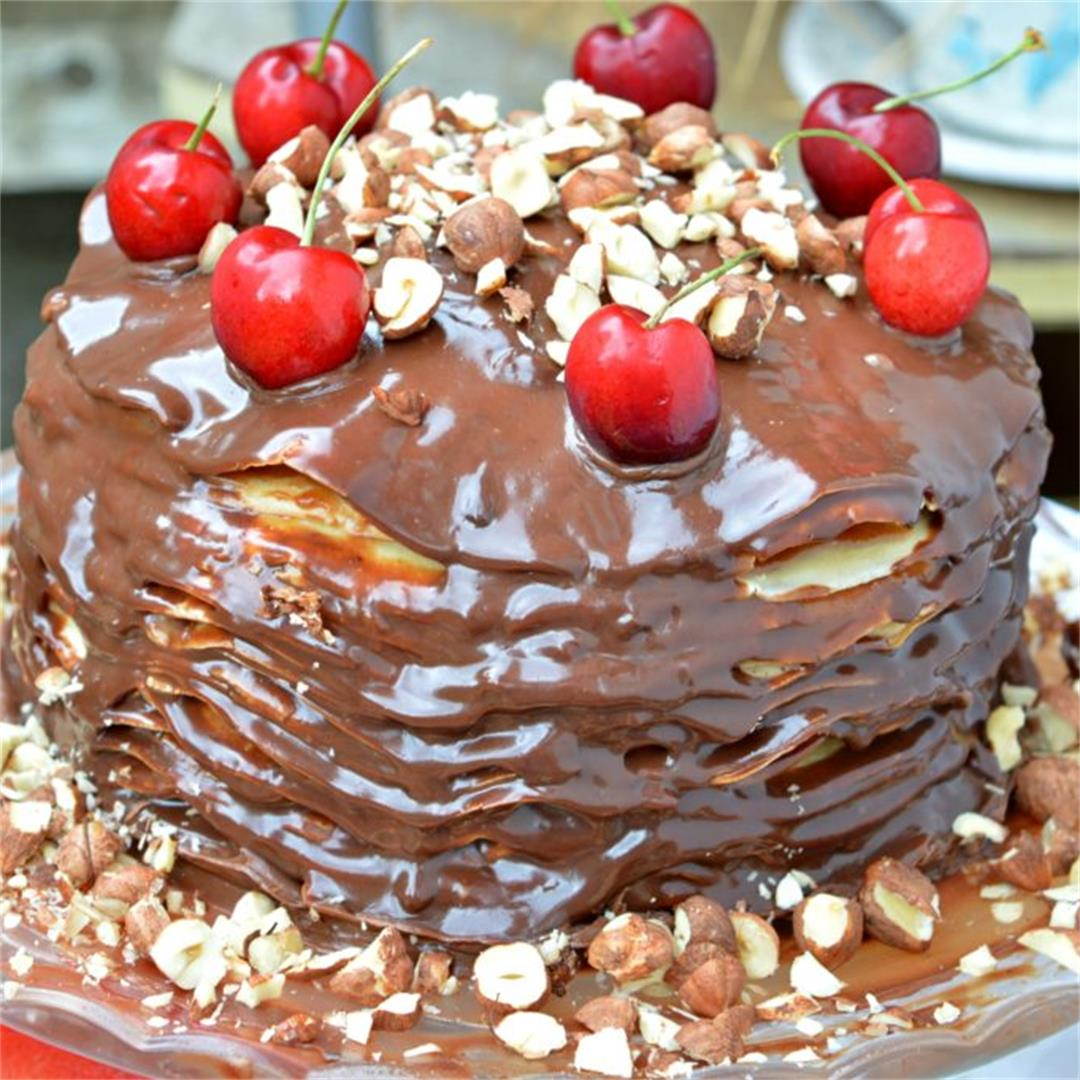Peanut Butter & Chocolate Pancake Cake — Tasty Food for Busy Mu