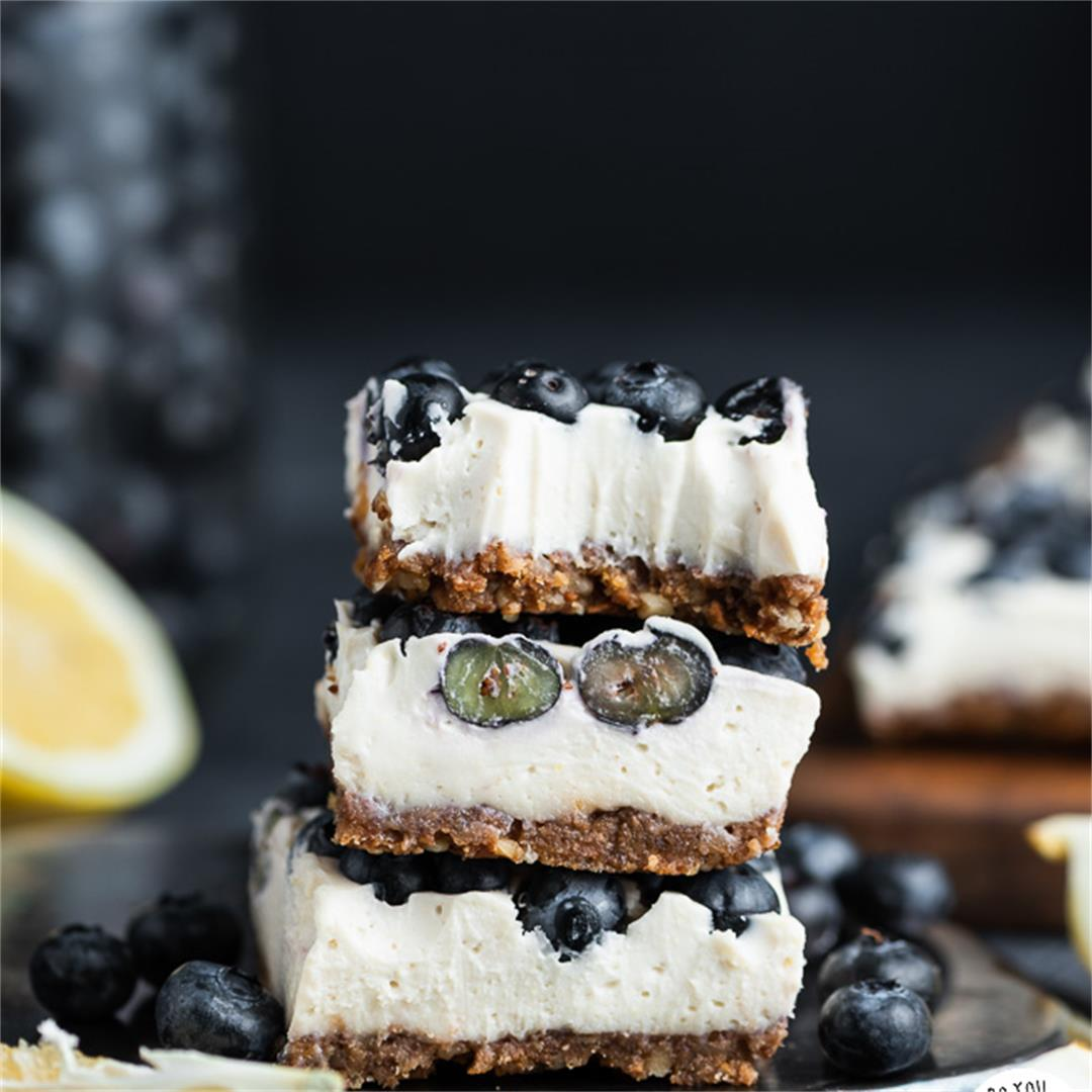 Lemon Blueberry Cheesecake Bars (Paleo, No Bake)