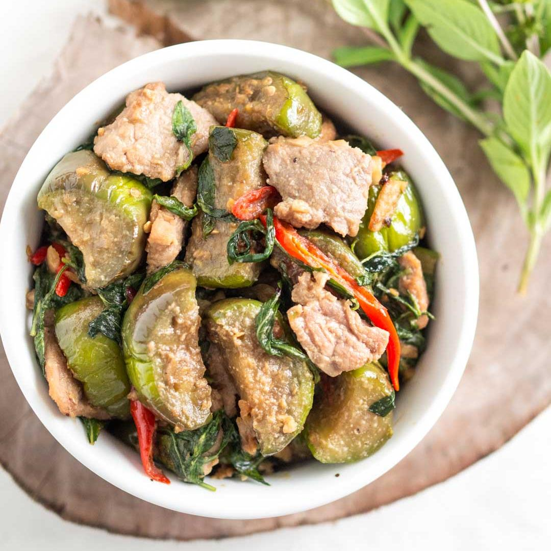 Eggplant Stir-Fried with Thai Basil Leaves & Salted Soy Beans