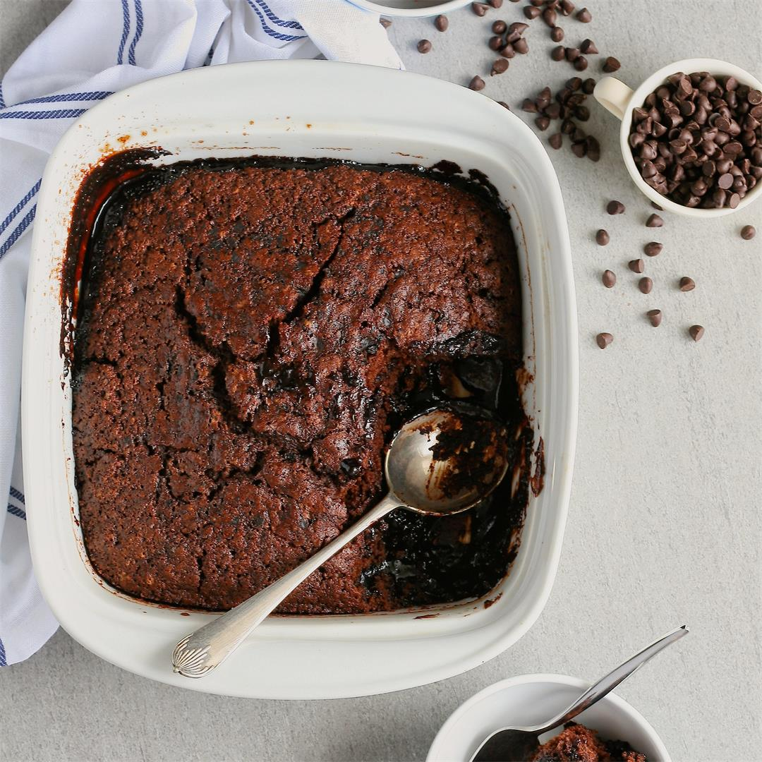 Self saucing chocolate whiskey pudding