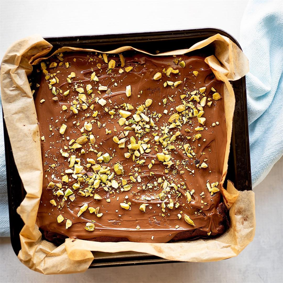 Gluten Free Fudgy Chocolate + Pistachio Brownies