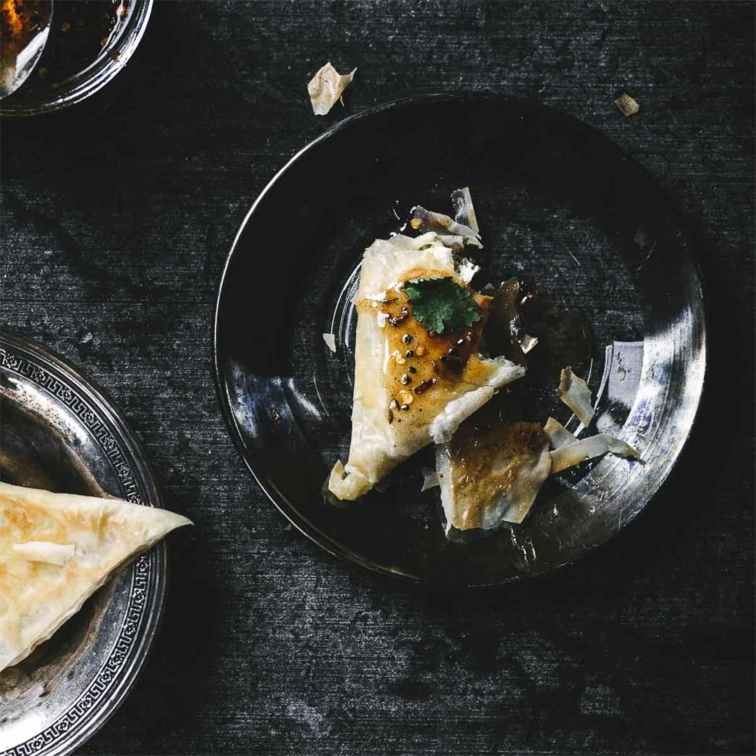 Briouats: Filo triangles stuffed with labneh — Recipe Fiction