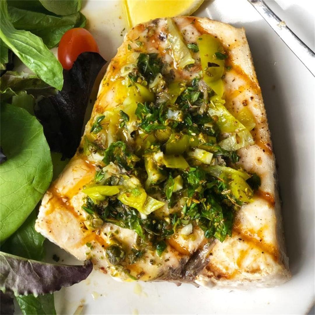 Swordfish with Oregano Caper Sauce