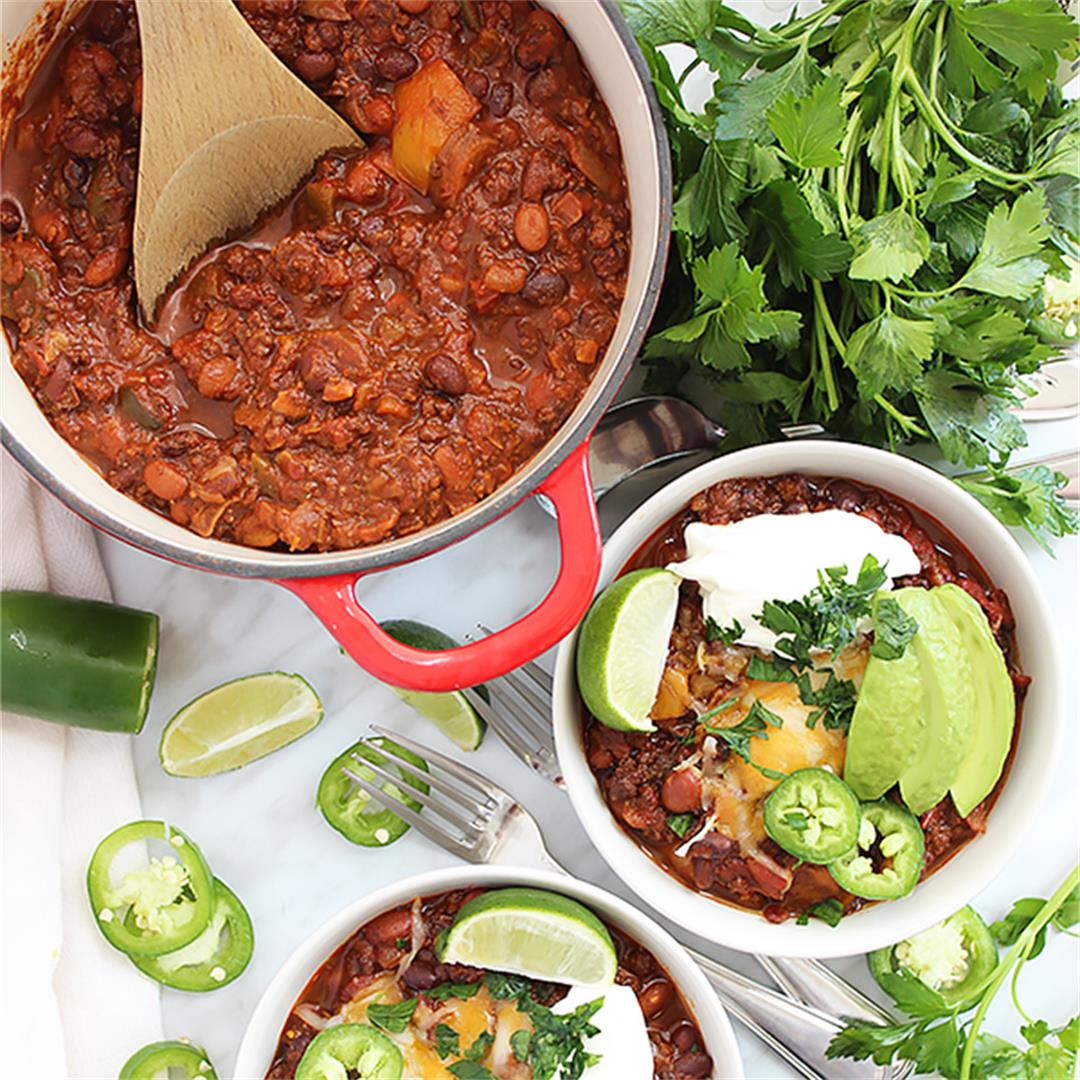 Roasted Ground Beef Chili
