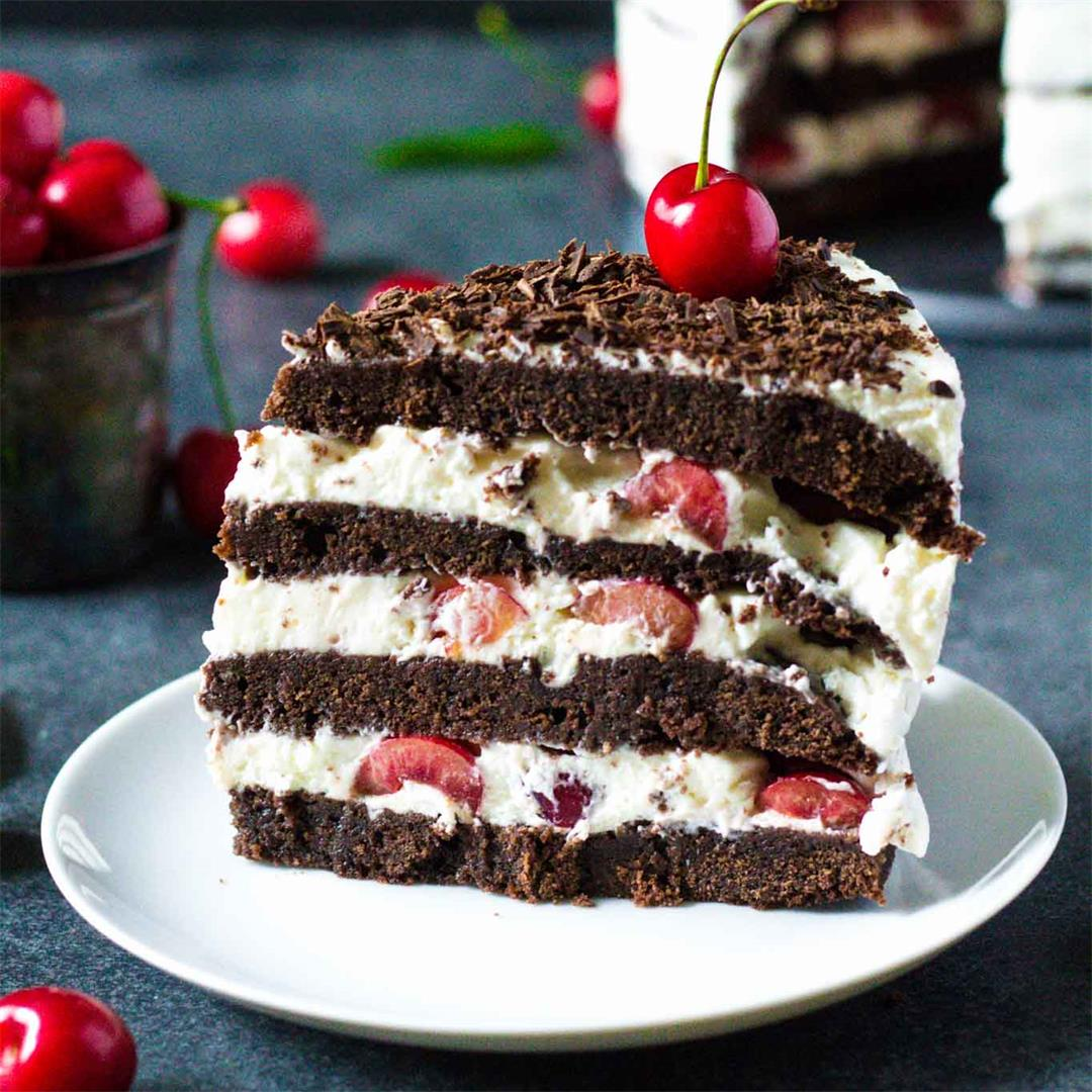 Black Forest Cake with Fresh Cherries