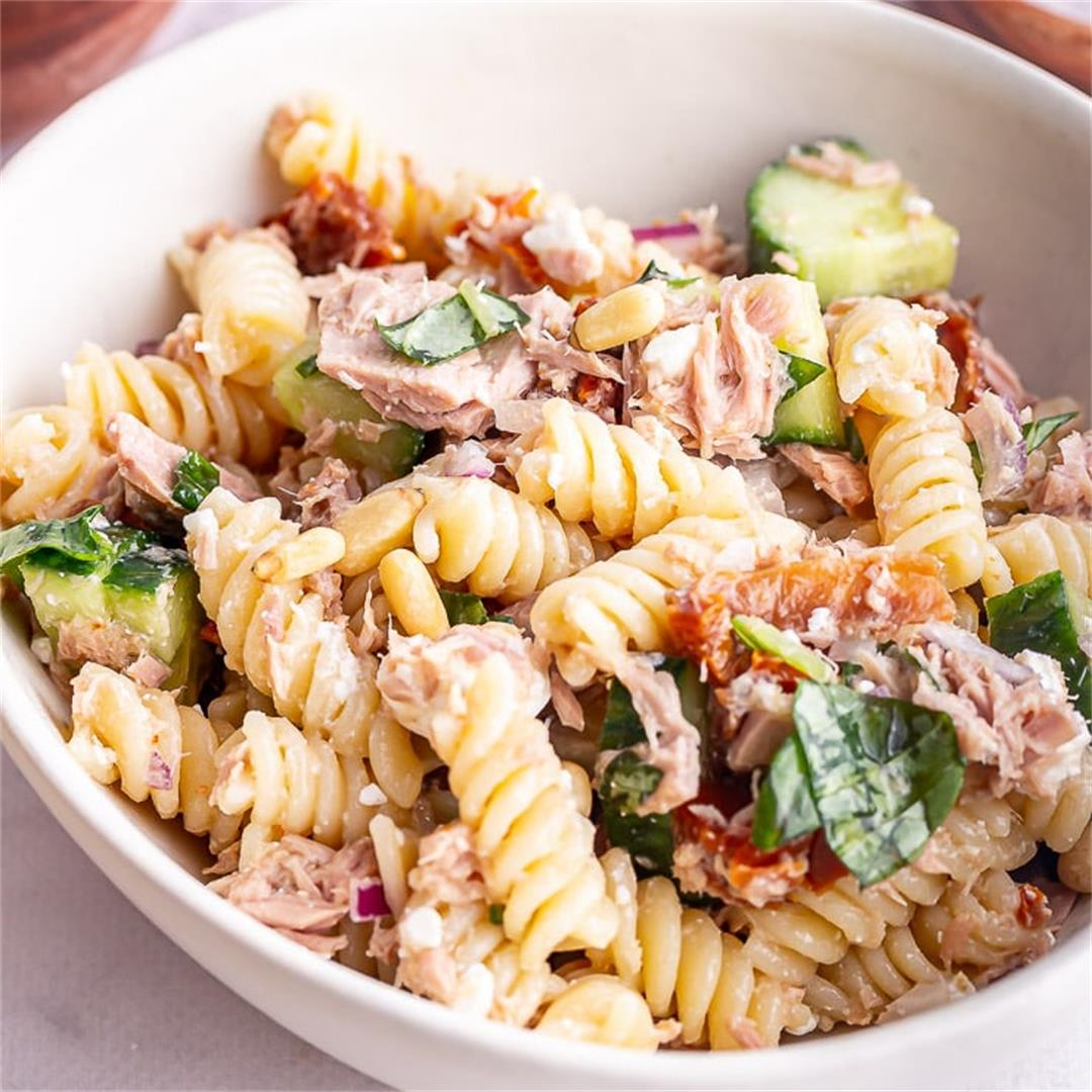 Tuna Pasta Salad with Feta & Pine Nuts • The Cook Report