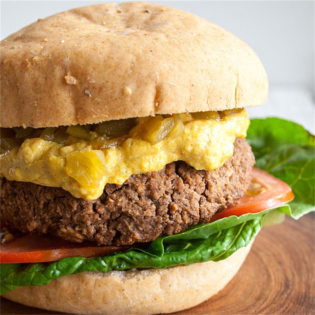 Vegan Black Bean Nacho Burger -