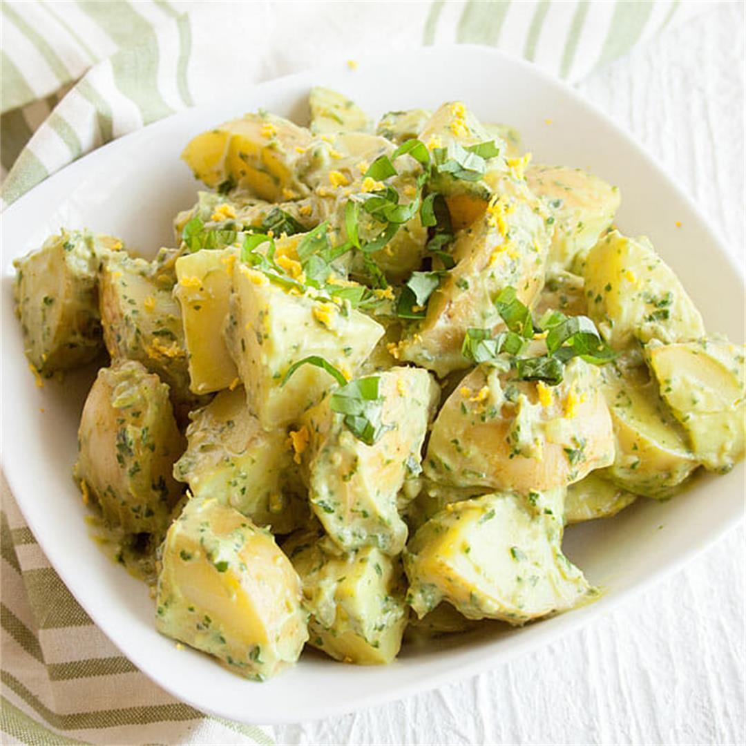 Avocado Pesto Potato Salad -