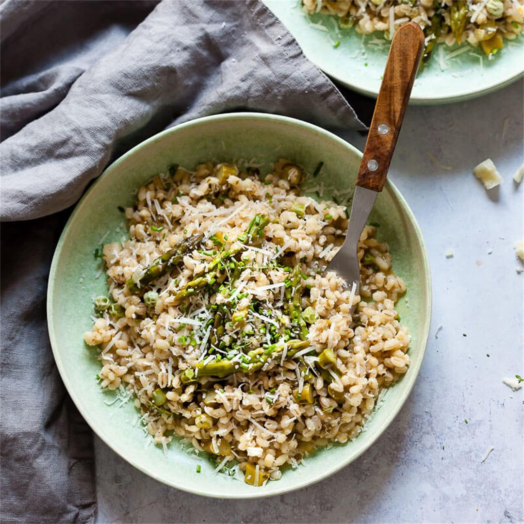 Vegan Barley Asparagus Risotto with Peas