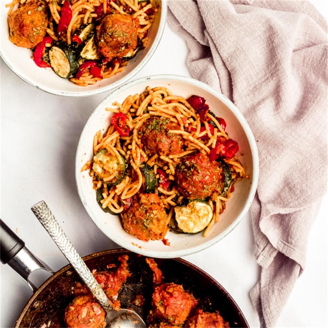 Spaghetti and Meatballs With A Mediterranean Twist