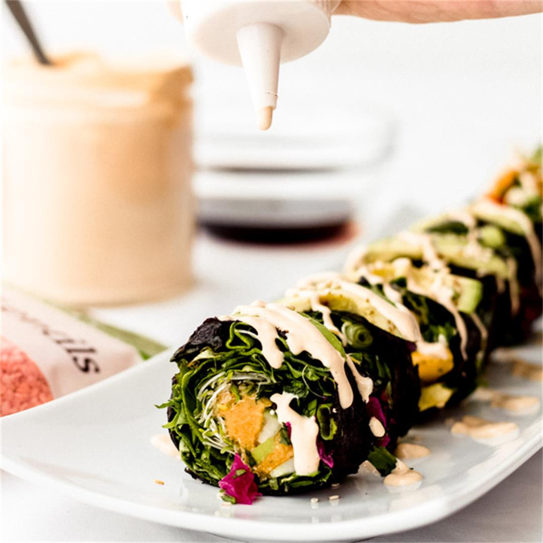 Smoky Red Lentil Rainbow Nori Roll With Pulses
