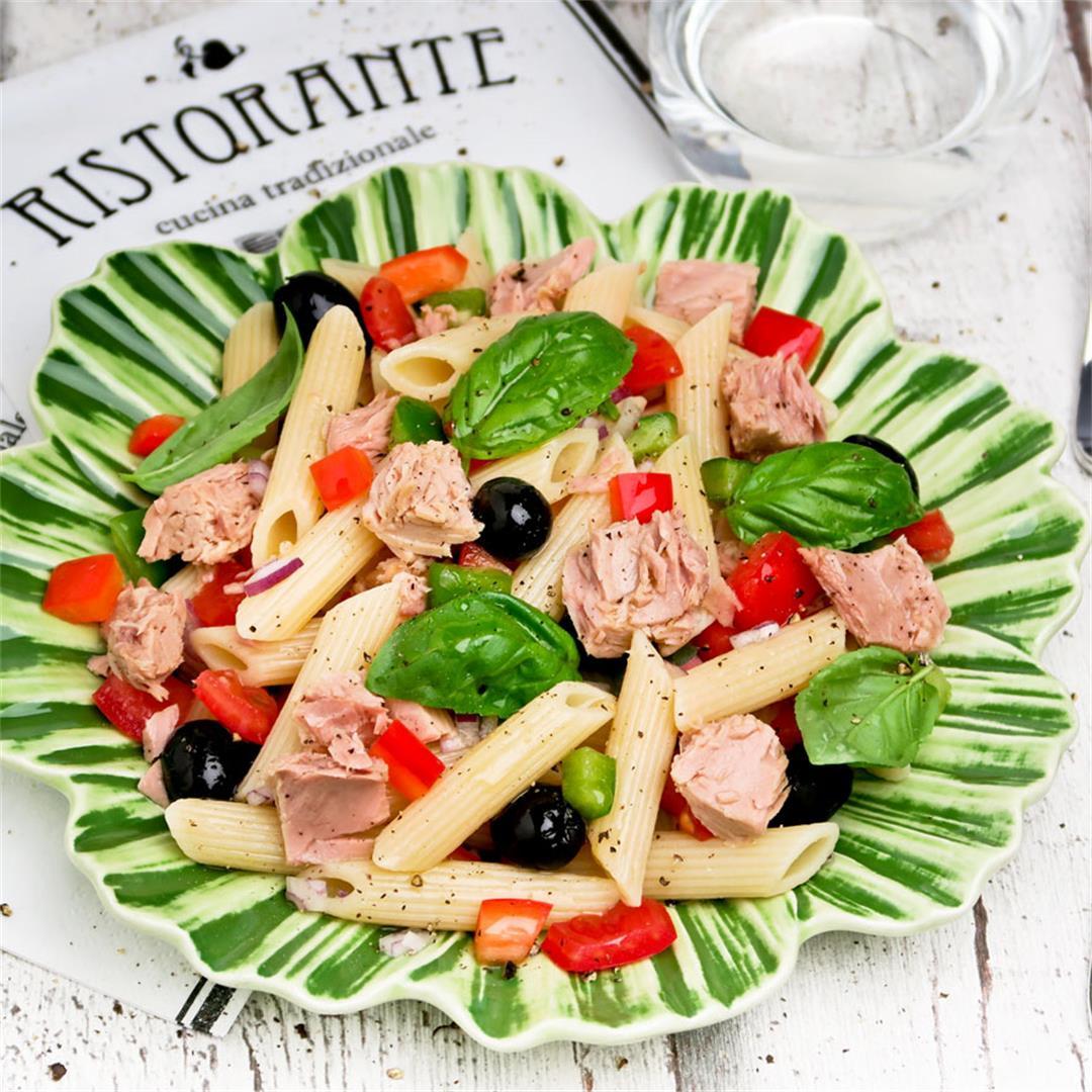 Mediterranean tuna pasta salad loaded with crunchy vegetables