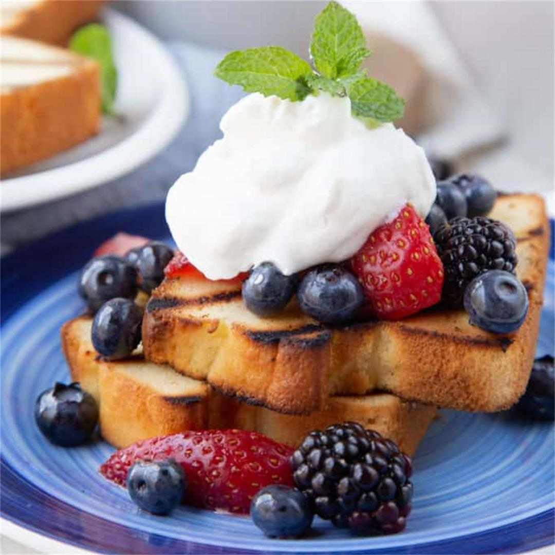 Patriotic Dessert: Grilled Pound Cake with Berries and Cream