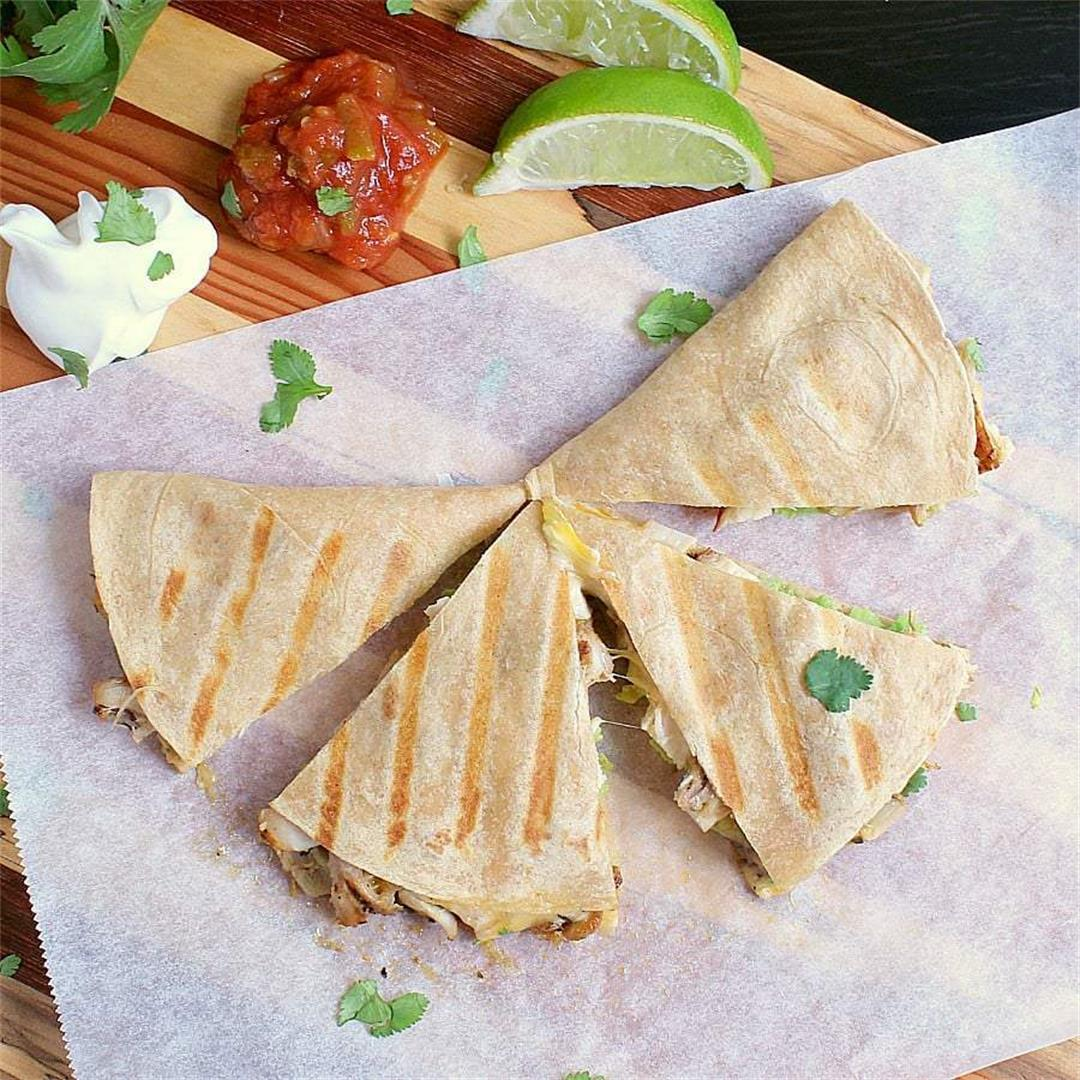 Low Carb Quesadilla with Chicken, Avocado and Refried Beans