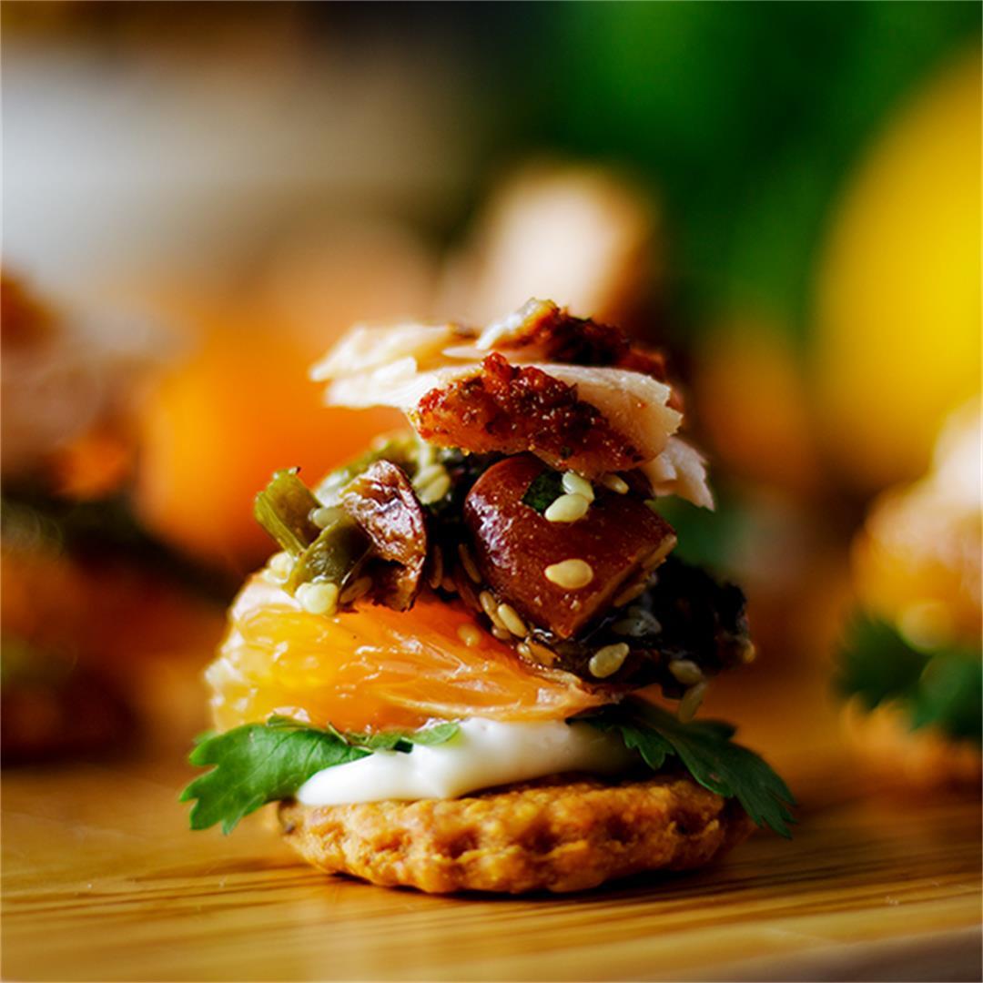 Orange Cedar Roasted Salmon Appetizers with Almond Salsa