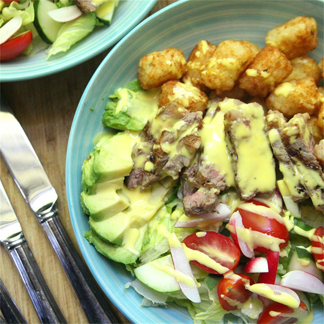 Steak and Potato Salad Recipe with Blender Hollandaise Sauce