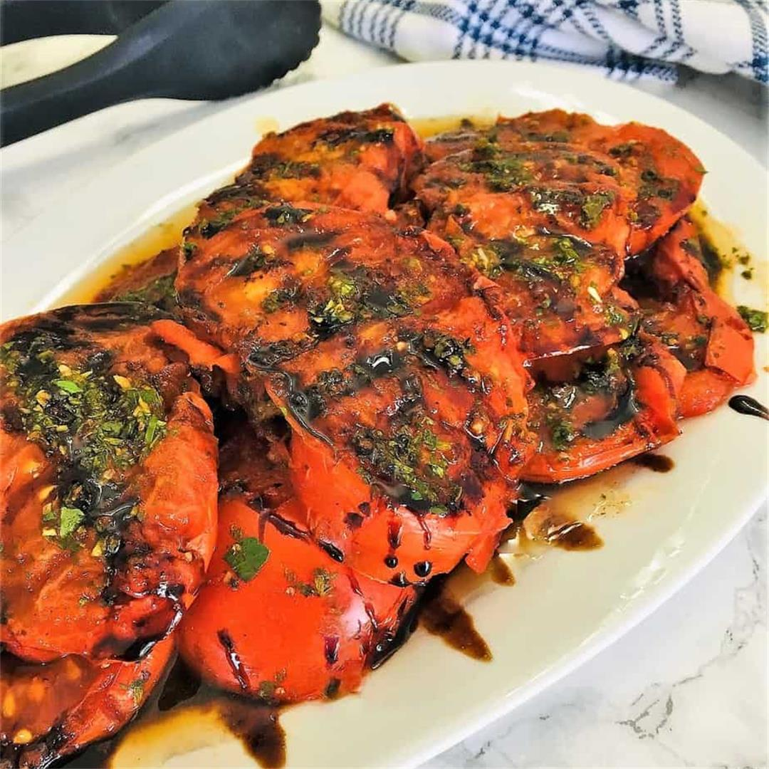 Grilled Tomatoes w/ Chimichurri Sauce -This Healthy Kitchen