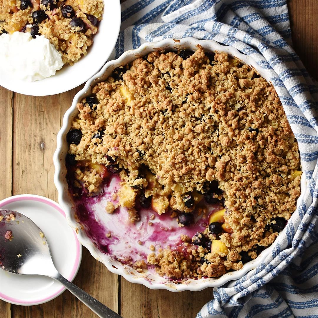 Simple Peach Blueberry Crumble (Low Sugar)