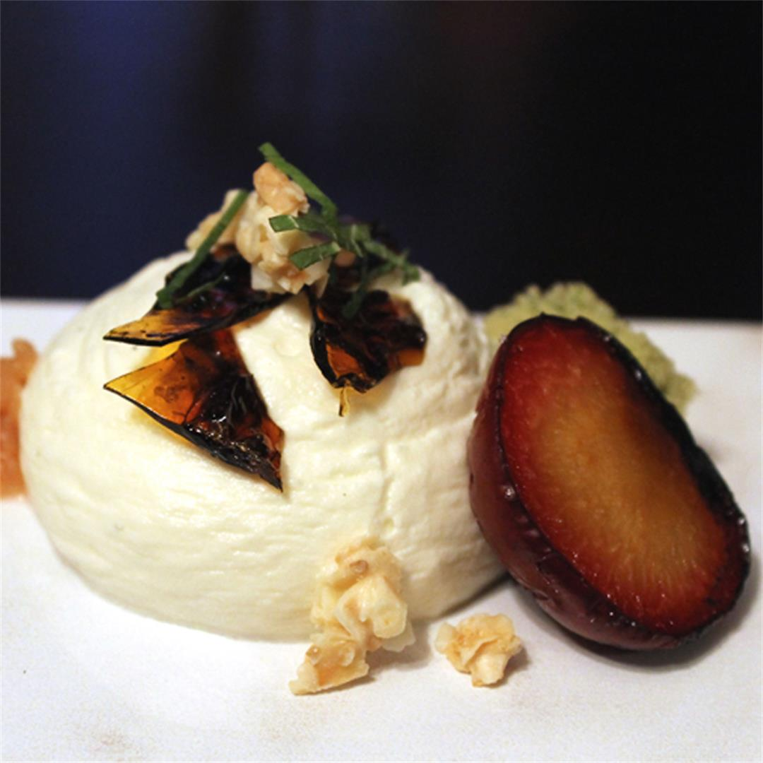 Fig leaf mousse with candied kelp