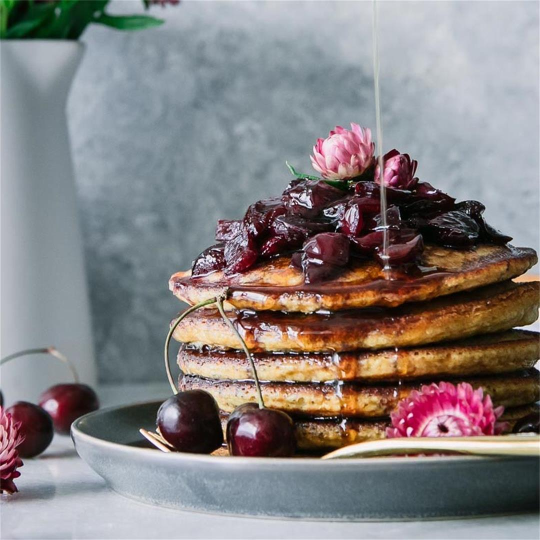 Black Cherry Hoecakes {Cornmeal Pancakes}
