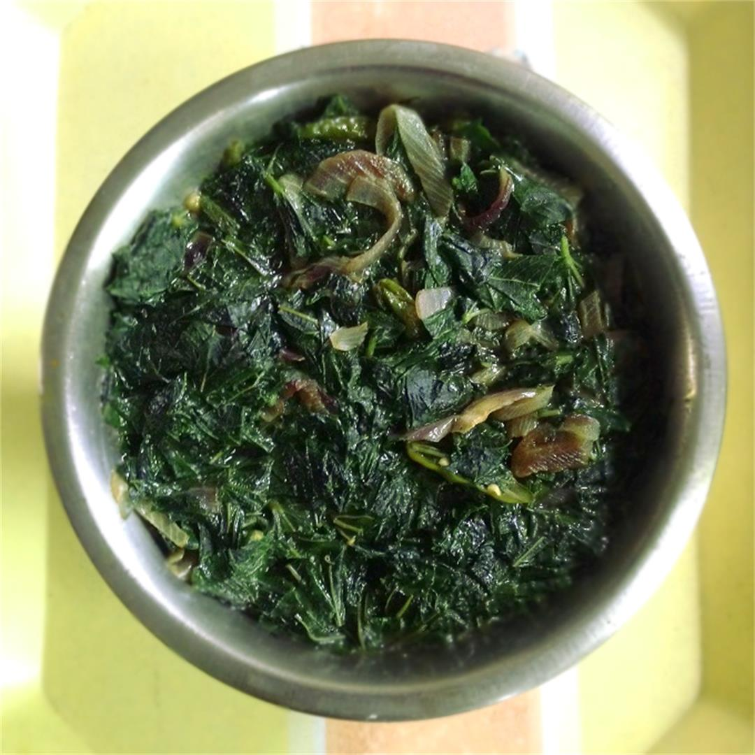 Jute leaves recipe; Popular Bengali paat shaker jhol