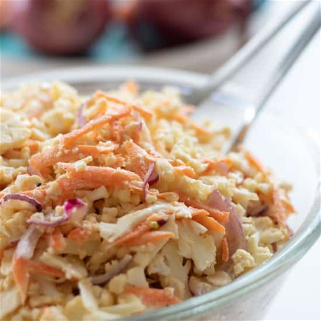 Raw Cauliflower Salad [Coleslaw Style]