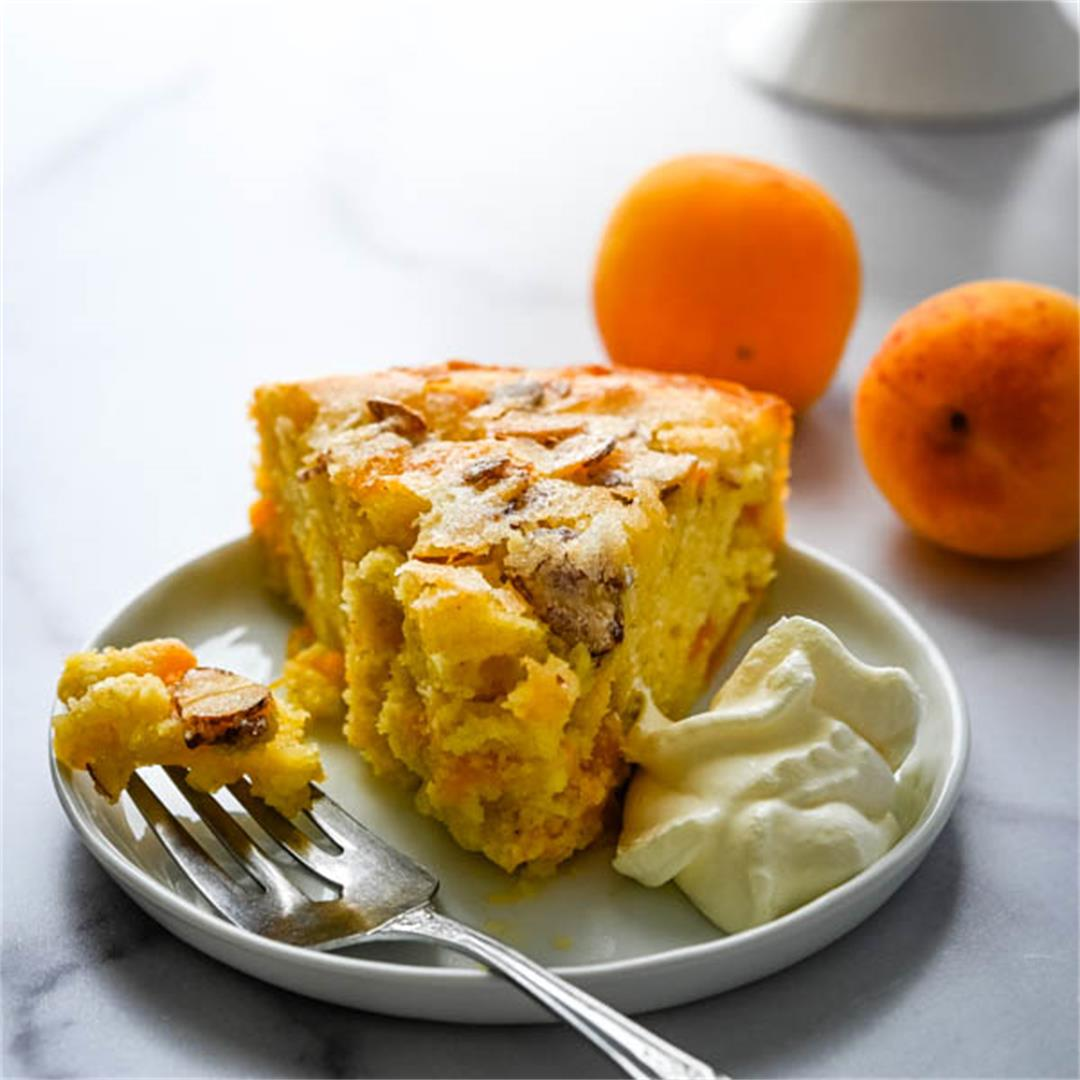 Fresh Apricot Cake with Sugared Almonds