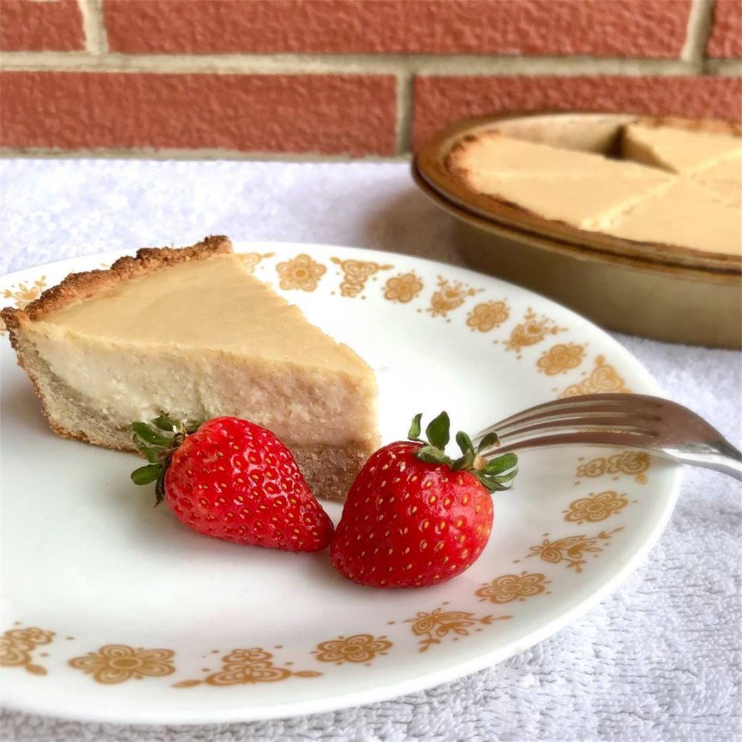 Healthy Baked Lemon Cheesecake (Vegan, No Gluten/Oil/Refined Su