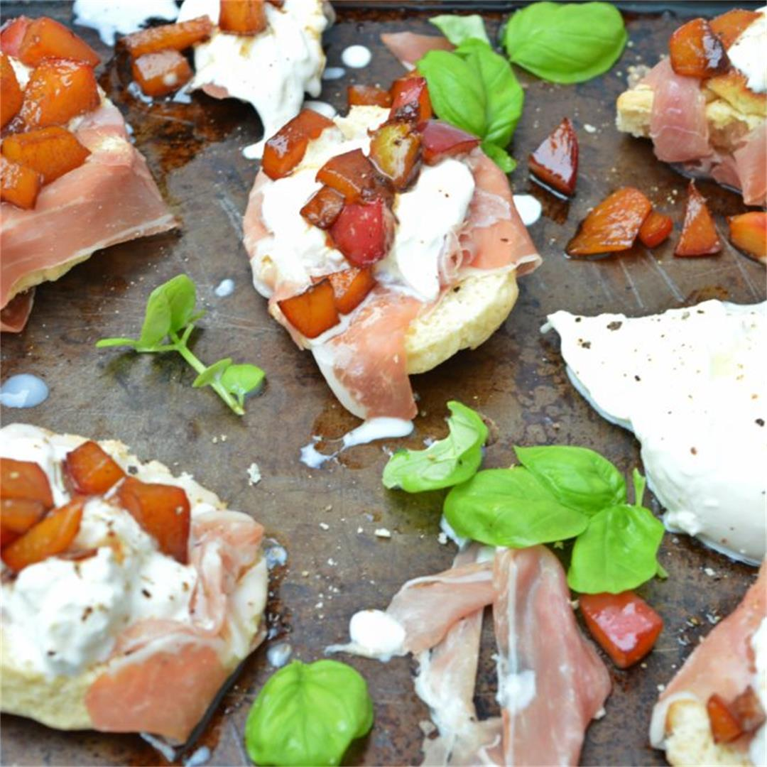 Scones with Burrata, Prosciutto & Glazed Nectarines — Tasty