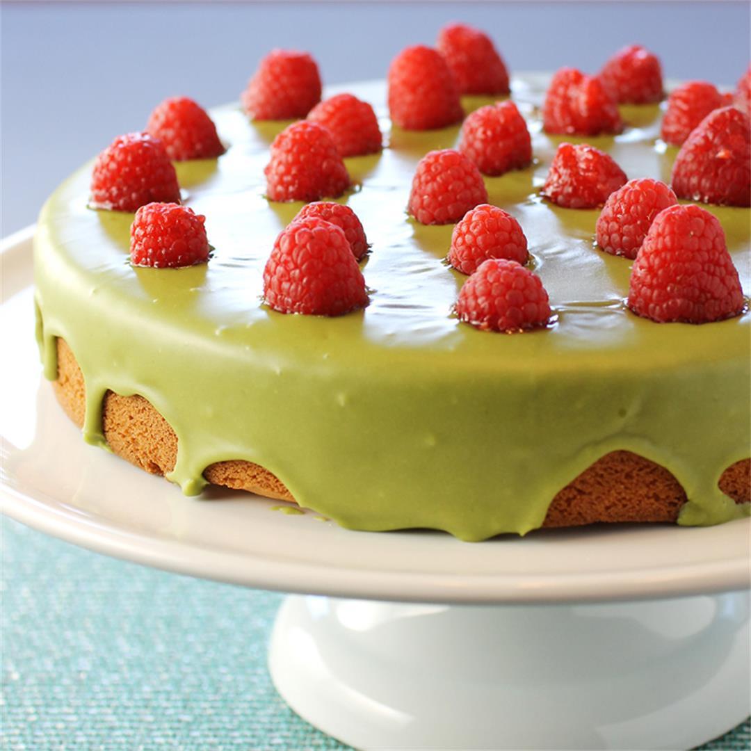 Raspberry mochi butter cake with matcha glaze
